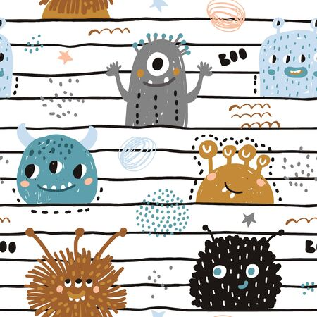 Seamless pattern with cute monsters. Creative childish texture for fabric, wrapping, textile, wallpaper, apparel. Vector illustration Stock Illustratie