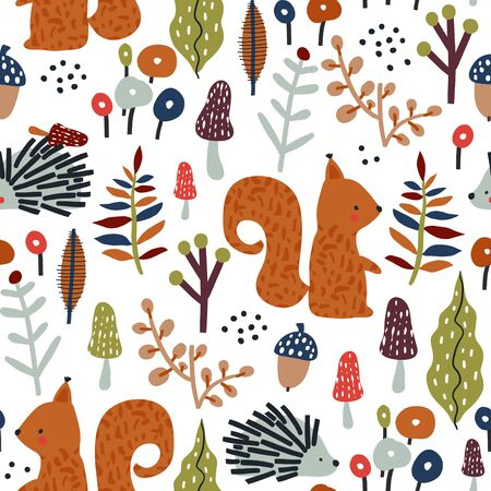 Seamless autumn pattern with squirrel, mushrooms and hedgehog in the forest. Creative woodland texture for fabric, wrapping, textile, wallpaper, apparel. Vector illustration Ilustração