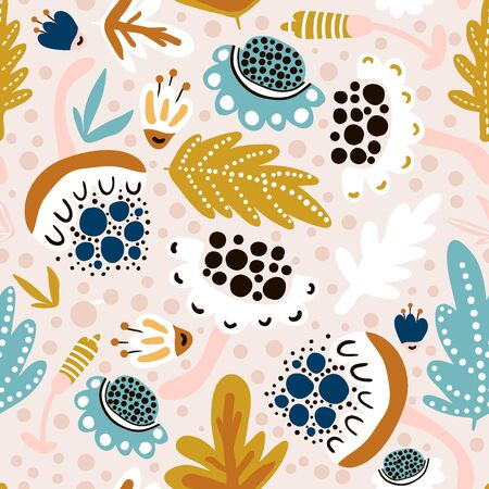 Seamless blooming pattern with flowers. Creative spring floral texture. Great for fabric, textile Vector Illustration