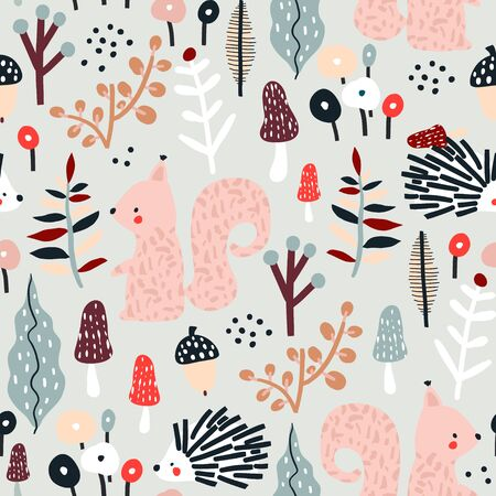 Seamless autumn pattern with squirrel, mushrooms and hedgehog. Creative woodland texture for fabric, wrapping, textile, wallpaper, apparel. Vector illustration