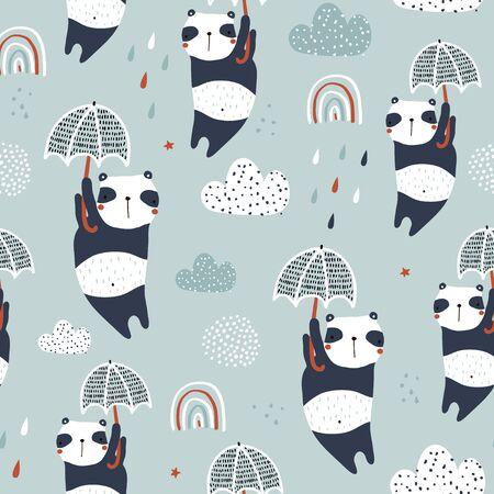 Motif enfantin sans couture avec des pandas mignons, des parapluies et des textures dessinées à la main. Texture dessinée à la main pour enfants créatifs pour le tissu, l'emballage, le textile, le papier peint, les vêtements. Illustration vectorielle Vecteurs