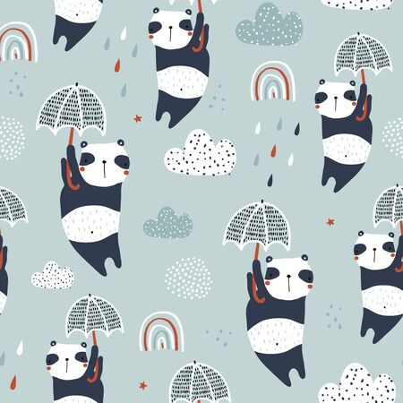 Seamless childish pattern with cute pandas, umbrellas and hand drawn textures. Creative kids hand drawn texture for fabric, wrapping, textile, wallpaper, apparel. Vector illustration