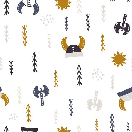 Childish seamless pattern with vikings elements. Trendy scandinavian vector background. Perfect for kids apparel,fabric, textile, nursery decoration,wrapping paper