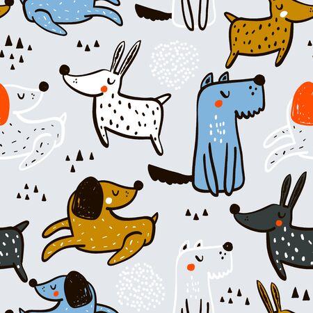 Modèle sans couture enfantin avec des chiens dessinés à la main. Fond de vecteur scandinave à la mode. Parfait pour les vêtements pour enfants, le tissu, le textile, la décoration de chambre d'enfant, le papier d'emballage