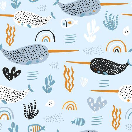 Modèle sans couture avec narvals abstraits, arcs-en-ciel, algues. Texture enfantine sous-marine pour tissu, textile. Fond de vecteur