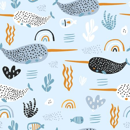 Seamless pattern with abstract narwals, rainbows, seaweeds. Undersea Childish texture for fabric, textile. Vector background Stock Illustratie