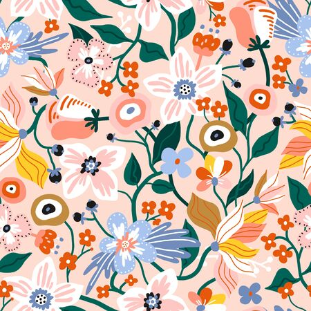 Seamless pattern with flowers. Creative spring floral texture. Great for fabric, textile Vector Illustration Stock Illustratie