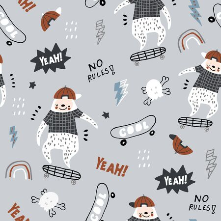 Seamless childish pattern with funny sloths on skateboards . Creative scandinavian kids texture for fabric, wrapping, textile, wallpaper, apparel. Vector illustration Ilustración de vector