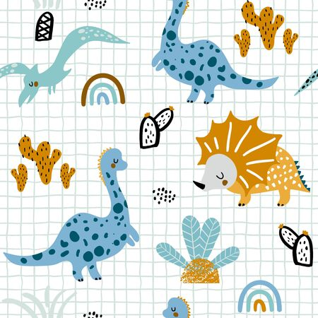 Childish seamless pattern with hand drawn dinozaurus, palm trees and cactuses in scandinavian style. Creative vector childish background for fabric, textile