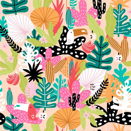 Seamless jungle pattern with toucans, colorful leaves, cactuses and hand drawn textures. Perfect for fabric,textile. Creative Vector background Vektoros illusztráció
