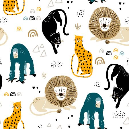 Seamless jungle pattern with african animals, panther, lion, orangutan, cheetah and hand drawn textures. Perfect for fabric,textile. Creative Vector background Illustration
