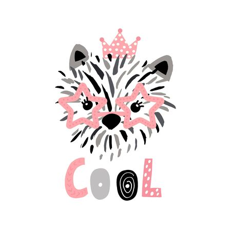 Cute princess dog in glasses ink drawn print. Perfect for t-shirt, apparel, cards, poster, nursery decoration. Vector Illustration