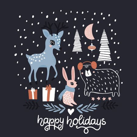 Creative greeting winter illustration with cute animals. Christmas hand drawn phrase. Perfectly look on cards, t-shirt, poster, nursery decoration, apparel design. Kids Vector Illustration Ilustração