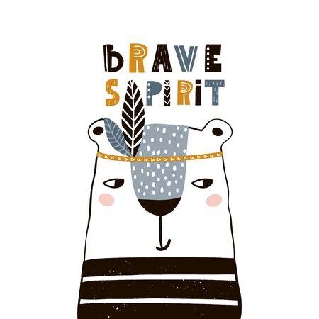 Cute cartoon bear indian. Childish print for nursery, kids apparel,poster, postcard. Vector Illustration