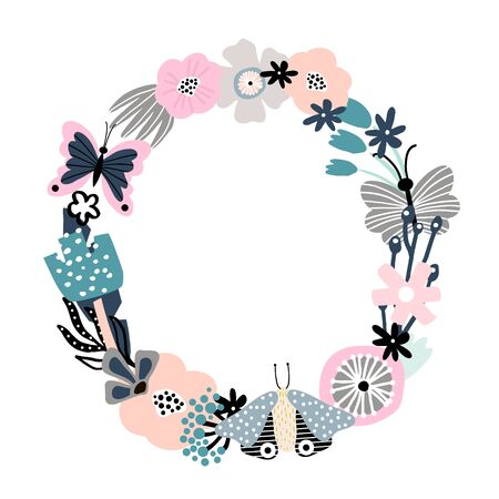 Floral frame with flowers, leaves and branches and butterfly. Vector Illustration Фото со стока - 147375345