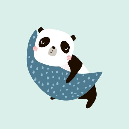 Cute slepping panda on the moon. Childish print for t-shirt, apparel, cards, poster, nursery decoration. Vector Illustration