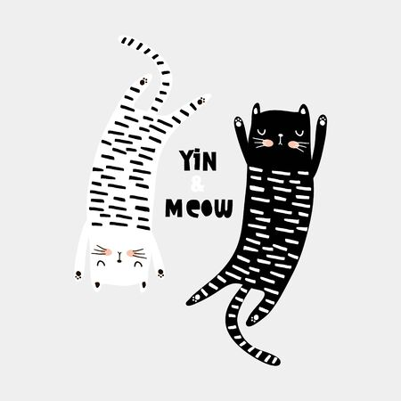 Cute cat childish print. Perfect for t-shirt, apparel, cards, poster, nursery decoration. Vector Illustration Ilustração