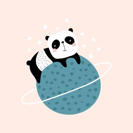 Cute slepping panda on the planet. Childish print for t-shirt, apparel, cards, poster, nursery decoration. Vector Illustration Ilustração