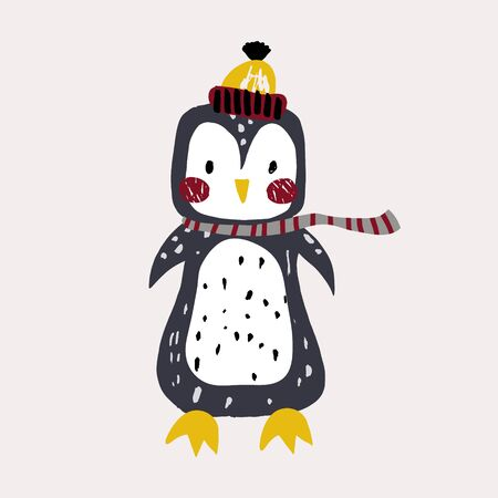 Cute bunny pinguin in winter hat. Childish print for t-shirt, apparel, cards, poster, nursery decoration. Vector Illustration