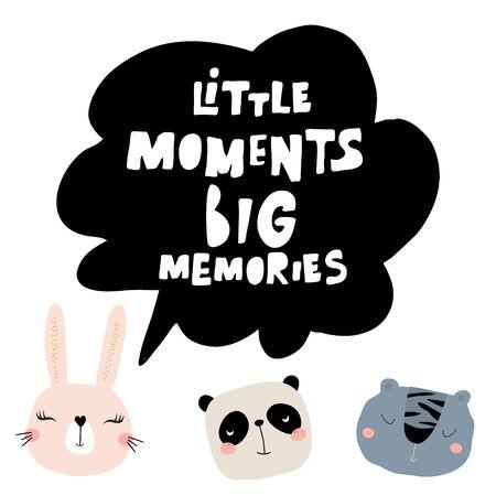 Little moment big memories lettering concept. Childish print for nursery, kids apparel,poster, postcard. Vector Illustration