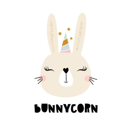 Cute bunny unicorn. Childish print for t-shirt, apparel, cards, poster, nursery decoration. Vector Illustration