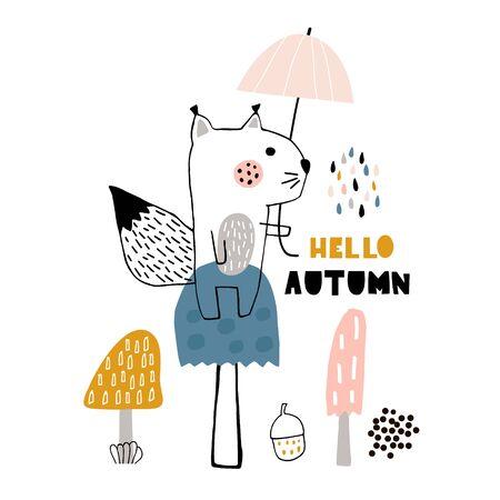 Hello autumn vector cartoon illustration with hand drawn squarell 向量圖像