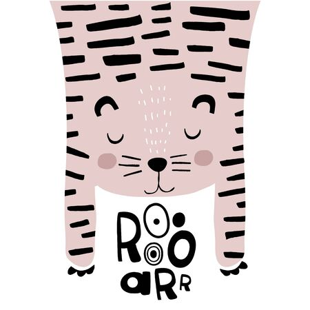 Cute tiger childish print. Perfect for t-shirt, apparel, cards, poster, nursery decoration. Vector Illustration