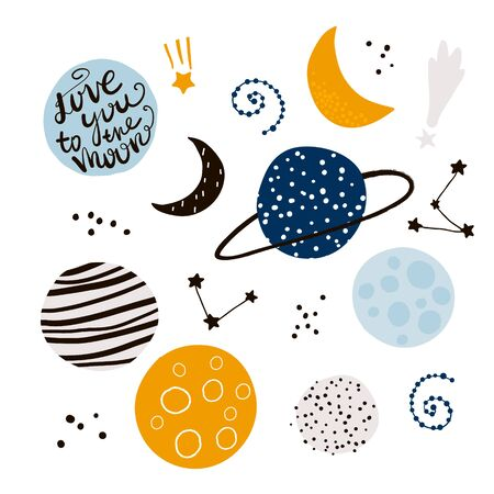 Cosmic design elements. Childish creative vector illustration with space objects
