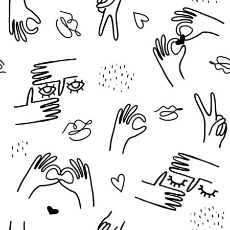 Monochrome trendy line style pattern with hands, lashes,eyes, lips. Vector texure