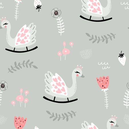Seamless childish pattern with swan rocking toy in pale pink and gray color. Perfect for kids textile, fabric, apparel. Vector illustration