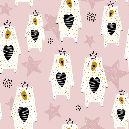 Seamless pattern with cute bear princess. Creative scandinavian childish texture. Great for fabric, textile Vector Illustration Ilustração