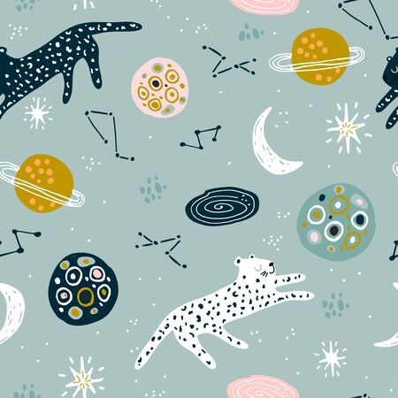 Seamless childish pattern with cheetah in cosmos. Creative kids abstract space texture for fabric, wrapping, textile, wallpaper, apparel. Vector illustration Ilustração