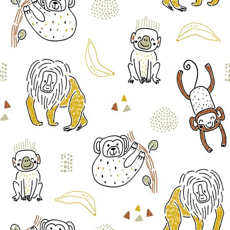 Seamless pattern with hand drawn funny monkey, bananas and hand drawn textures. Childish texture for fabric, textile,apparel. Vector background