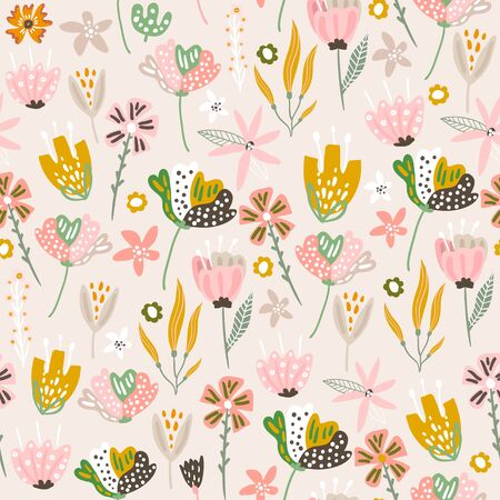 Seamless floral pattern in pastel colors. Blooming flower texture. Great for fabric, textile vector illustration. Ilustração