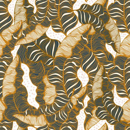 Seamless pattern with hand drawn gold outline tropical leaves. Trendy palm branches. Vector illustration