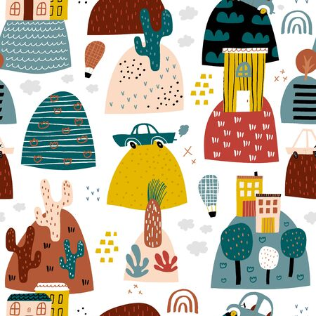 Abstract seamless pattern with hand drawn city design. Trendy kids vector background. Perfect for kids apparel, fabric, textile