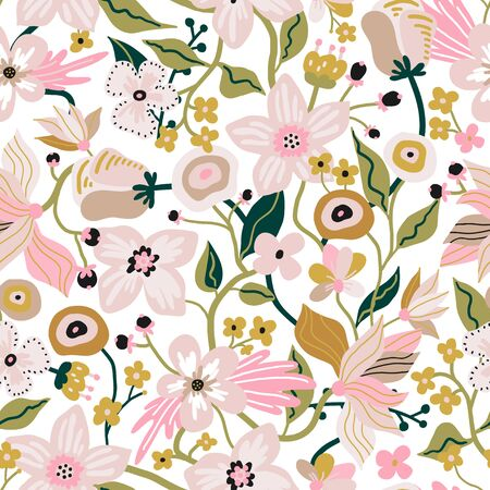 Seamless pattern with flowers. Creative blooming floral texture. Great for fabric, textile Vector Illustration Ilustração