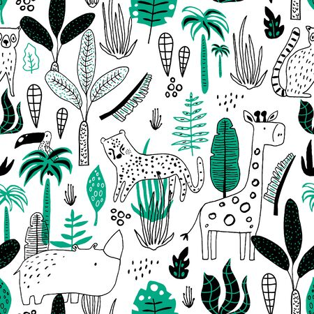 Seamless childish jungle pattern with leopard, giraffe, toucan, rhinoceros and jungle florals. Perfect for fabric,textile. Creative Vector background