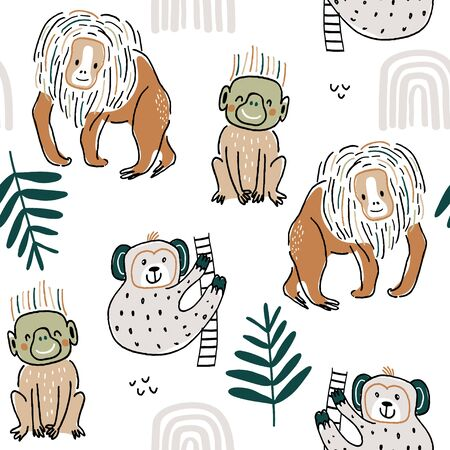 Seamless pattern with hand drawn funny monkey, plam branch, rainbow. Childish texture for fabric, textile,apparel. Vector background