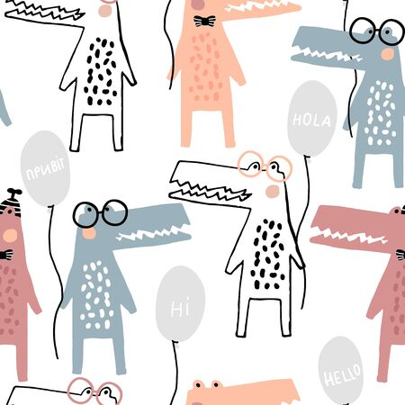 Seamless childish pattern with funny hand drawn crocodiles with balloons Creative scandinavian style kids texture for fabric, wrapping, textile, wallpaper, apparel. Vector illustration Ilustração