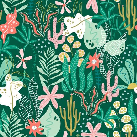 Seamless tropical pattern with jungle florals. Perfect for fabric,textile. Creative Vector background