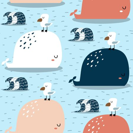Seamless pattern with whale and gull. Childish texture for fabric, textile,apparel. Vector background Ilustração