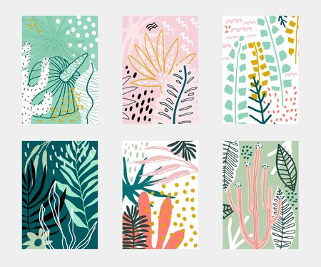 Set of Abstarct tropical flowers poster templates. Jungle folliage collages. artistic creative universal cards. Vector illustration Ilustração