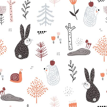 Seamless childish pattern with cute rabbits,hedgehog, snail in the wood. Creative kids forest texture for fabric, wrapping, textile, wallpaper, apparel. Vector illustration