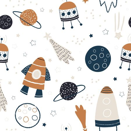 Childish seamless pattern with hand drawn space elements space, rocket, star, planet, space probe. Trendy kids vector background. Ilustração