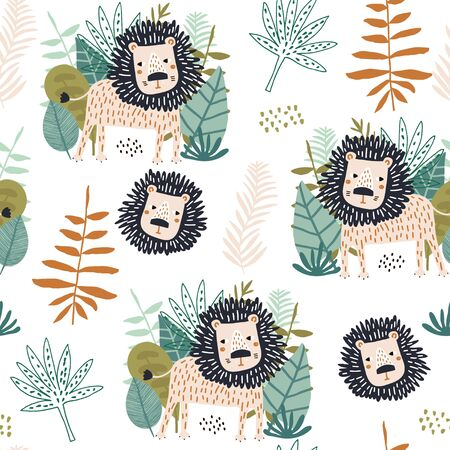Seamless jungle pattern with funny lions and tropical elements. Creative kids for fabric, wrapping, textile, wallpaper, apparel. Vector illustration