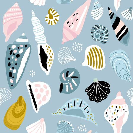 Seamless pattern with colorful creative seashells. Creative marine texture. Great for fabric, textile Vector Illustration Ilustração