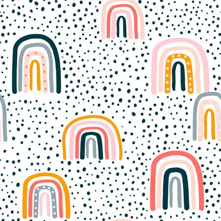 Childish seamless pattern with hand drawn rainbow and dots. Trendy kids vector background. Ilustração