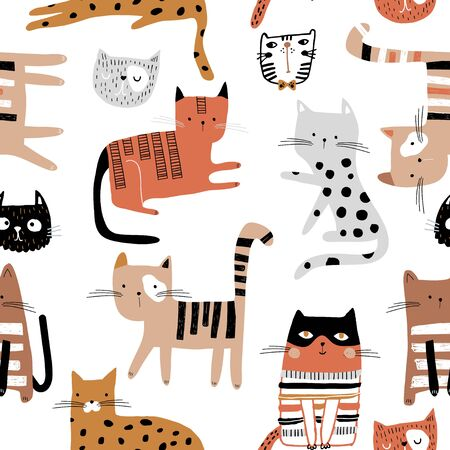 Seamless childish pattern with hand drawn cats in different poses. Creative kids hand drawn texture for fabric, wrapping, textile, wallpaper, apparel. Vector illustration Ilustração