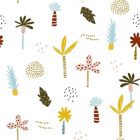 Seamless pattern with hand drawn palm trees and pineapple. Creative summer modern texture for fabric, wrapping, textile, wallpaper, apparel. Vector illustration Ilustração